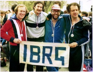 The IBRG London Marathon Team 1982: L to R, John Gillatt, Malcolm Greenhalgh, Dennis Allsopp and Glyn Morton