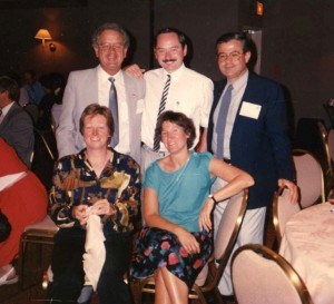 Robert Edyvean (centre back) with Glyn Morton (L back), Hector Videla (R back), Joan Kelley (L front) and Chris Gaylarde (R front) at the Windsor Symposium, 1990