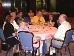 At dinner, anticlockwise from R: Brian Flannigan, Margaret Flannigan, Chris Gaylarde, Hans-Curt Flemming, AN Other, John Gillatt, Marta Urizal-Comas, Madrid 2005
