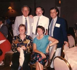 Robert Edyvean (centre back) with Glyn Morton (L back), Hector Videla (R back), Joan Kelley (L front) and Chris Gaylarde (R front) at the Windsor Symposium, 1990